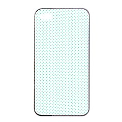 Tiffany Aqua Blue Candy Polkadot Hearts On White Apple Iphone 4/4s Seamless Case (black) by PodArtist