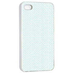 Tiffany Aqua Blue Candy Polkadot Hearts On White Apple Iphone 4/4s Seamless Case (white) by PodArtist