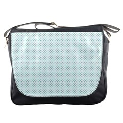 Tiffany Aqua Blue Candy Polkadot Hearts On White Messenger Bags by PodArtist