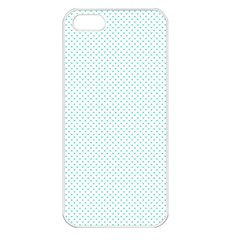 Tiffany Aqua Blue Candy Polkadot Hearts On White Apple Iphone 5 Seamless Case (white) by PodArtist