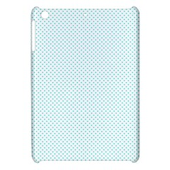 Tiffany Aqua Blue Candy Polkadot Hearts On White Apple Ipad Mini Hardshell Case by PodArtist