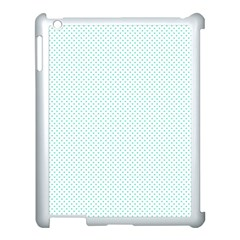 Tiffany Aqua Blue Candy Polkadot Hearts On White Apple Ipad 3/4 Case (white) by PodArtist