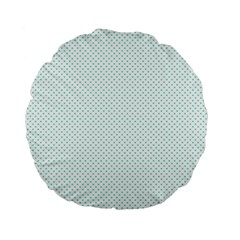 Tiffany Aqua Blue Candy Polkadot Hearts On White Standard 15  Premium Round Cushions by PodArtist