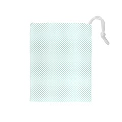 Tiffany Aqua Blue Candy Polkadot Hearts On White Drawstring Pouches (medium)  by PodArtist