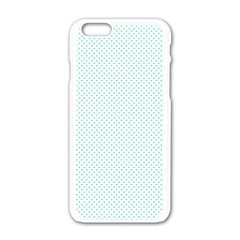 Tiffany Aqua Blue Candy Polkadot Hearts On White Apple Iphone 6/6s White Enamel Case by PodArtist