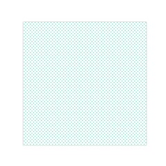 Tiffany Aqua Blue Candy Polkadot Hearts On White Small Satin Scarf (square) by PodArtist
