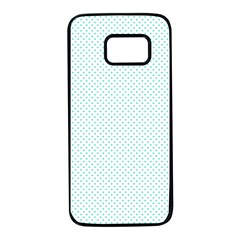 Tiffany Aqua Blue Candy Polkadot Hearts On White Samsung Galaxy S7 Black Seamless Case by PodArtist