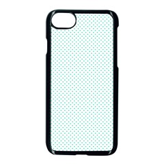 Tiffany Aqua Blue Candy Polkadot Hearts On White Apple Iphone 8 Seamless Case (black) by PodArtist