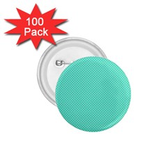 White Polkadot Hearts On Tiffany Aqua Blue  1 75  Buttons (100 Pack)  by PodArtist