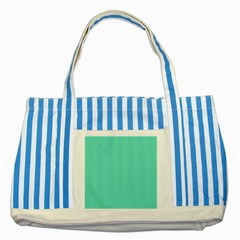 White Polkadot Hearts On Tiffany Aqua Blue  Striped Blue Tote Bag by PodArtist