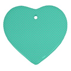 White Polkadot Hearts On Tiffany Aqua Blue  Heart Ornament (two Sides) by PodArtist