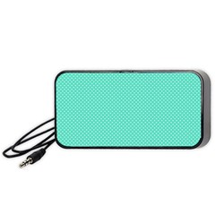 White Polkadot Hearts On Tiffany Aqua Blue  Portable Speaker by PodArtist