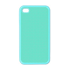White Polkadot Hearts On Tiffany Aqua Blue  Apple Iphone 4 Case (color) by PodArtist