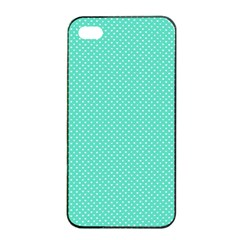 White Polkadot Hearts On Tiffany Aqua Blue  Apple Iphone 4/4s Seamless Case (black) by PodArtist