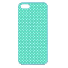 White Polkadot Hearts On Tiffany Aqua Blue  Apple Seamless Iphone 5 Case (color) by PodArtist