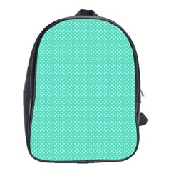 White Polkadot Hearts On Tiffany Aqua Blue  School Bag (xl) by PodArtist