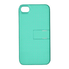 White Polkadot Hearts On Tiffany Aqua Blue  Apple Iphone 4/4s Hardshell Case With Stand by PodArtist