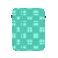 White Polkadot Hearts On Tiffany Aqua Blue  Apple Ipad 2/3/4 Protective Soft Cases by PodArtist
