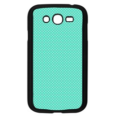 White Polkadot Hearts On Tiffany Aqua Blue  Samsung Galaxy Grand Duos I9082 Case (black) by PodArtist