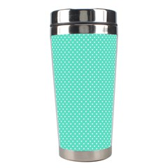 White Polkadot Hearts On Tiffany Aqua Blue  Stainless Steel Travel Tumblers