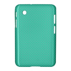 White Polkadot Hearts On Tiffany Aqua Blue  Samsung Galaxy Tab 2 (7 ) P3100 Hardshell Case  by PodArtist
