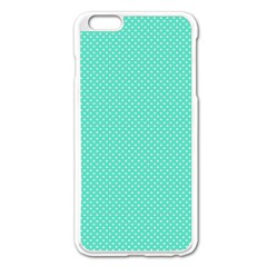 White Polkadot Hearts On Tiffany Aqua Blue  Apple Iphone 6 Plus/6s Plus Enamel White Case by PodArtist