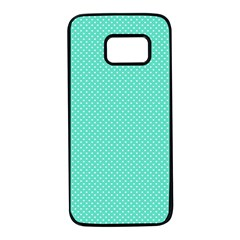 White Polkadot Hearts On Tiffany Aqua Blue  Samsung Galaxy S7 Black Seamless Case by PodArtist