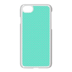 White Polkadot Hearts On Tiffany Aqua Blue  Apple Iphone 8 Seamless Case (white)
