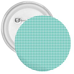 Tiffany Aqua Blue Candy Hearts On White 3  Buttons by PodArtist