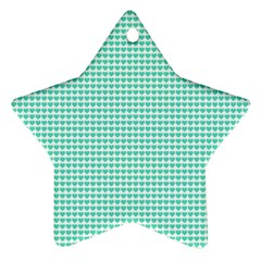 Tiffany Aqua Blue Candy Hearts On White Ornament (star) by PodArtist