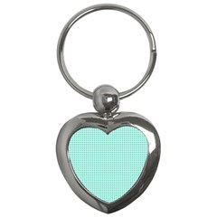 Tiffany Aqua Blue Candy Hearts On White Key Chains (heart)  by PodArtist
