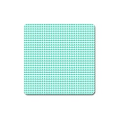 Tiffany Aqua Blue Candy Hearts On White Square Magnet by PodArtist