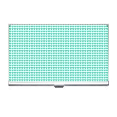 Tiffany Aqua Blue Candy Hearts On White Business Card Holders by PodArtist