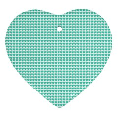 Tiffany Aqua Blue Candy Hearts On White Heart Ornament (two Sides) by PodArtist
