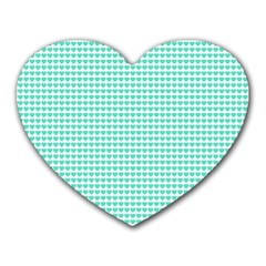 Tiffany Aqua Blue Candy Hearts On White Heart Mousepads by PodArtist
