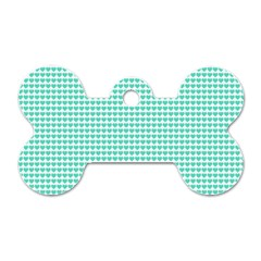 Tiffany Aqua Blue Candy Hearts On White Dog Tag Bone (one Side) by PodArtist