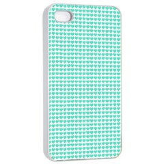 Tiffany Aqua Blue Candy Hearts On White Apple Iphone 4/4s Seamless Case (white) by PodArtist