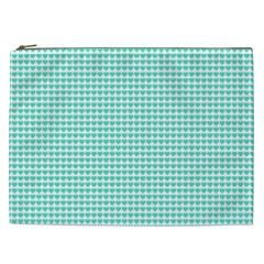 Tiffany Aqua Blue Candy Hearts On White Cosmetic Bag (xxl)  by PodArtist