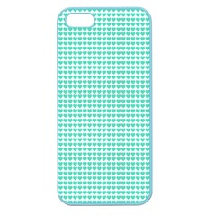 Tiffany Aqua Blue Candy Hearts On White Apple Seamless Iphone 5 Case (color) by PodArtist