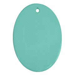 Tiffany Aqua Blue Puffy Quilted Pattern Ornament (oval) by PodArtist