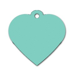 Tiffany Aqua Blue Puffy Quilted Pattern Dog Tag Heart (one Side) by PodArtist