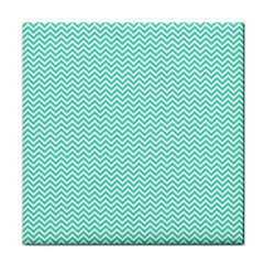 Tiffany Aqua Blue Chevron Zig Zag Tile Coasters by PodArtist