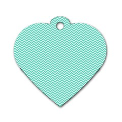 Tiffany Aqua Blue Chevron Zig Zag Dog Tag Heart (one Side) by PodArtist