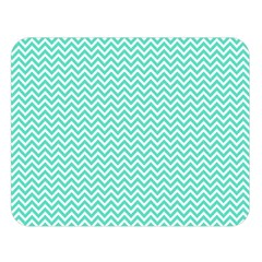 Tiffany Aqua Blue Chevron Zig Zag Double Sided Flano Blanket (large)  by PodArtist