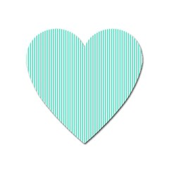 Classy Tiffany Aqua Blue Sailor Stripes Heart Magnet by PodArtist