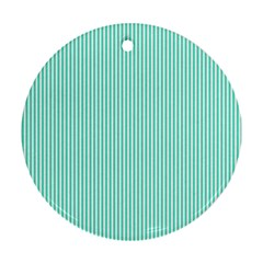 Classy Tiffany Aqua Blue Sailor Stripes Round Ornament (two Sides) by PodArtist