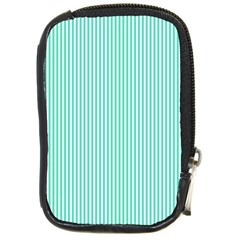 Classy Tiffany Aqua Blue Sailor Stripes Compact Camera Cases by PodArtist