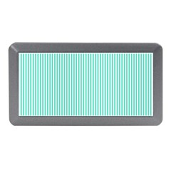 Classy Tiffany Aqua Blue Sailor Stripes Memory Card Reader (mini) by PodArtist