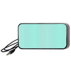 Classy Tiffany Aqua Blue Sailor Stripes Portable Speaker by PodArtist