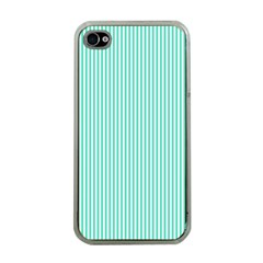 Classy Tiffany Aqua Blue Sailor Stripes Apple Iphone 4 Case (clear) by PodArtist